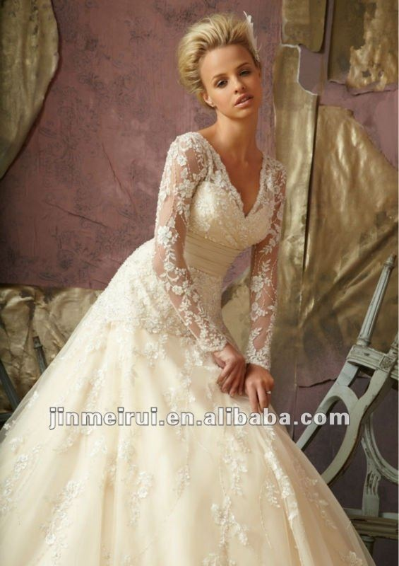 Great Beautiful Long Sleeve Lace Ball Gown Wedding Dress Cheap Wedding Dresses Wholesale and Retail Online Store Perfect for a winter wedding D