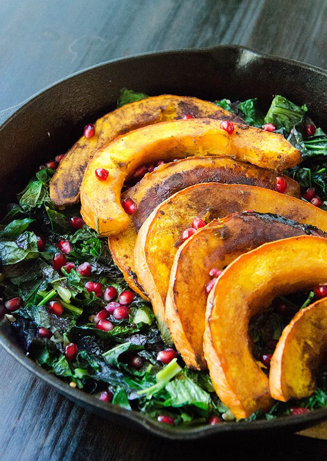 Maple Roasted Red Kuri Squash With Lemon and Garlicky Greens:
