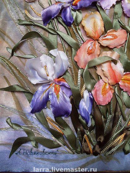 Картины цветов ручной работы. Ярмарка Мастеров - ручная работа Веселые ирисы. Handmade.