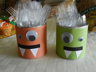 Monster Birthday Party! I have two square glass jars i can make look like monsters