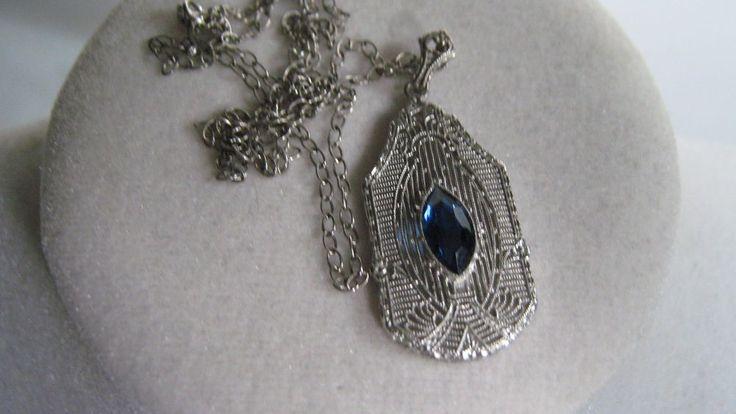 Antique Edwardian 1910 Sterling Fine Filigree Blue Stone Pendant Necklace | eBay