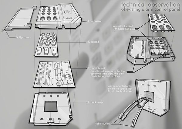 EXPLODED VIEW DRAWING control panel and PIR sensor by Natalia Tofas, via Behance