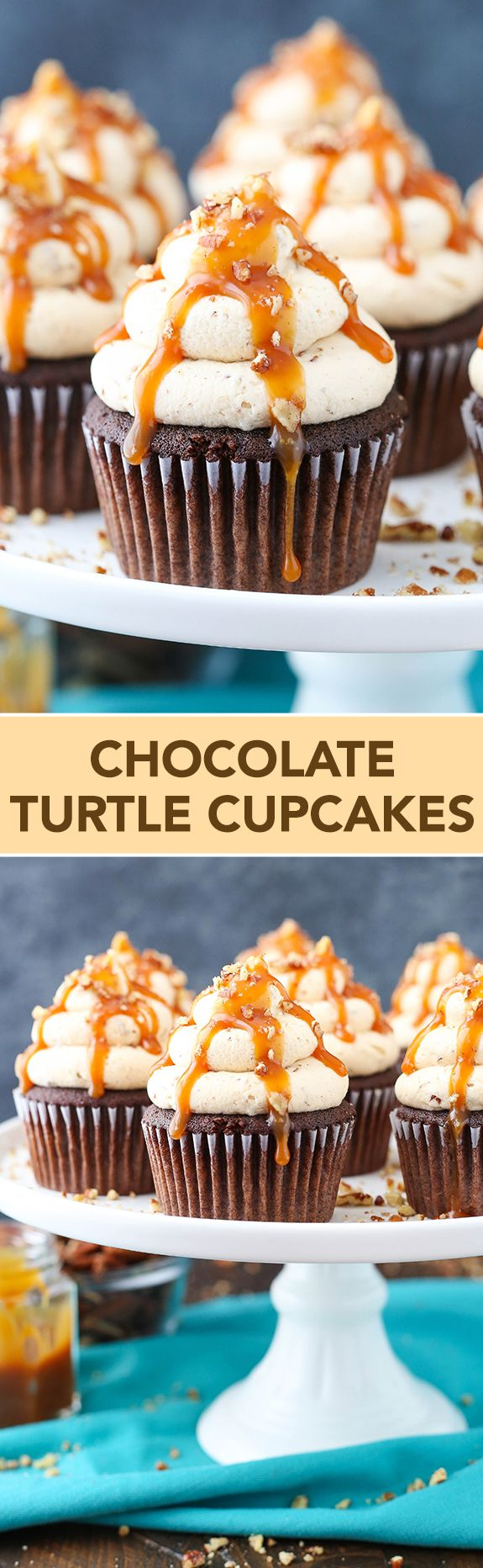 Chocolate Turtle Cupcakes - chocolate cupcakes topped with caramel pecan frosting, caramel drizzle and chopped pecans: