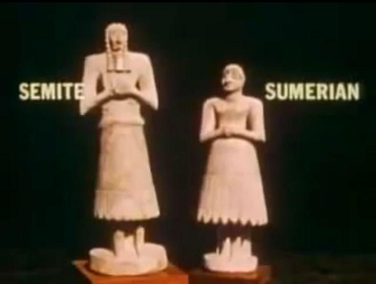 Semite and sumerian ( ùĝ saĝ gíg-ga)セムとシュメール人の特徴    言語、文化、また、おそらくは外見も周囲のセム系の民族とは異なっていた。しかしシュメールの男子像を見る限り、大きく彫りの深い目、高い鼻、巻き毛で髭が多いなどセム系と変わりないような容貌をした像もあり、民族系統は未だ謎である。民族系統は未だ謎である。アッカド王朝以前の遺跡に見られるシュメール人の容貌は剃髪した彫りの浅い髭のない傾向が多く見られ、アッカド人とは書き分けられているようである。創世記では洪水後シナル(シュメール地方)に住み着いたのは「東からやってきた人々」とされており、言語的容貌的観点からモンゴロイドである可能性もある。
