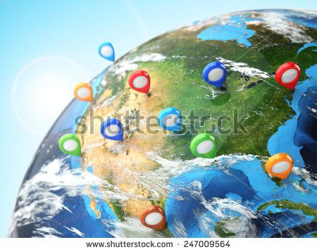 Travel destination concept. Pin on earth. Navigation in USA. 3d Elements of this image furnished by NASA - stock photo