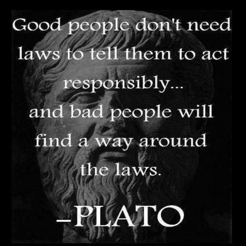 """Plato understood that you cannot legislate good behavior!  The actual translation of the quote is """"Good people do not need laws to tell them to act responsibly, while bad people will find a way around the laws.""""     - Plato (427-347 B.C.)"""