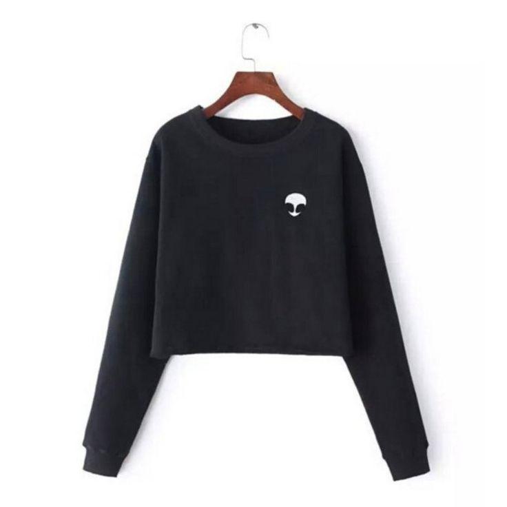 New Fashion T Shirt Women Long Sleeve O-Neck Casual Tops Alien Print Top Tees Blusas Plus Size
