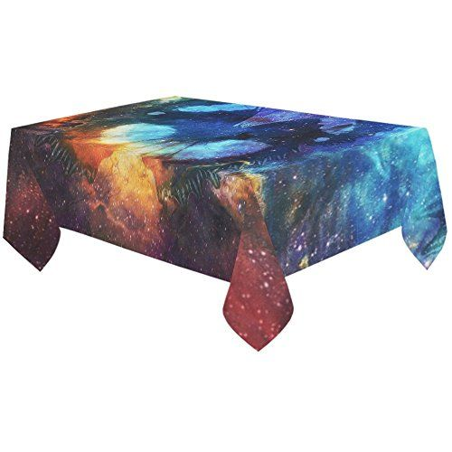 InterestPrint Tablecloth Butterfly in Cosmic Space Home Decor 60 X 120 In, Galaxy Nebula Clouds Modern Fabric Desk Cover Table Cloth for Dining Room Kitchen Party Decoration