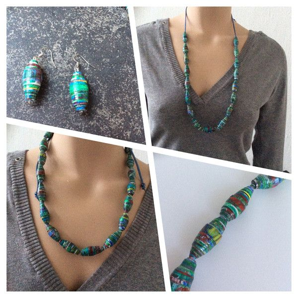 Groen-blauwe ketting en oorbellen van papieren kralen