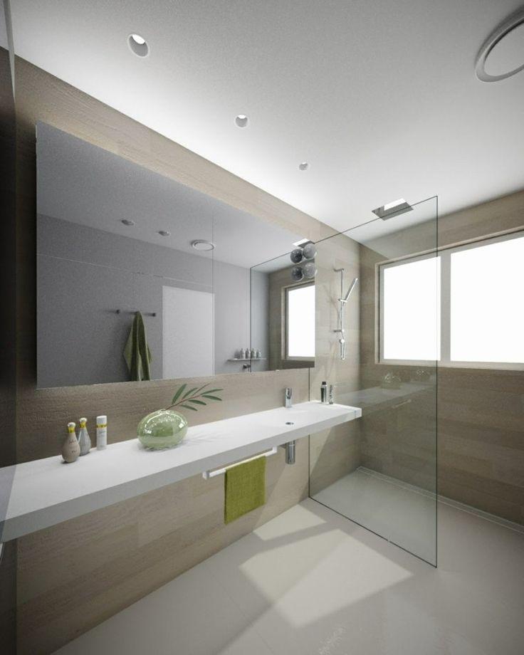 paredes de madera en el baño moderno