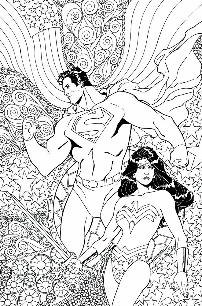 Superman Wonder Woman Dcu Variant Adult Coloring Book Cover Is A Comic Book Published By Dc Comics Written By Peter J Tomasi Drawn By Doug Mahnke With