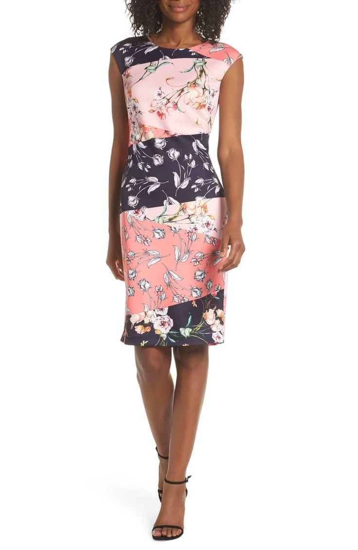 Vince Camuto Floral Print Scuba Crepe Sheath Dress Nordstrom Nordstrom Dresses Dresses Sheath Dress [ 1128 x 736 Pixel ]