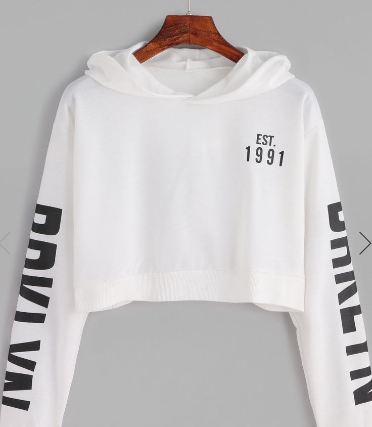 Est 1991 white cropped sweatshirt with words on the sleeves Shein