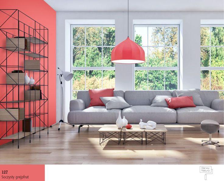 Kolor grejfrutowy wsalonie. Kolory na ścianach i wśród dodatków inspirowane owocami sprawdzą się zawsze. Piękny, orzeźwiający grejfrut !
