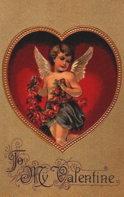 To My Valentine, a Victorian cupid vintage Valentine