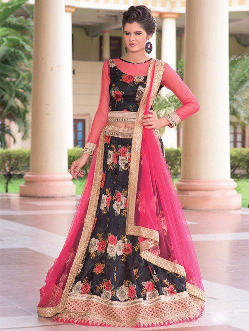 Black Bhagalpuri Silk Lehenga Choli with Mirror Work