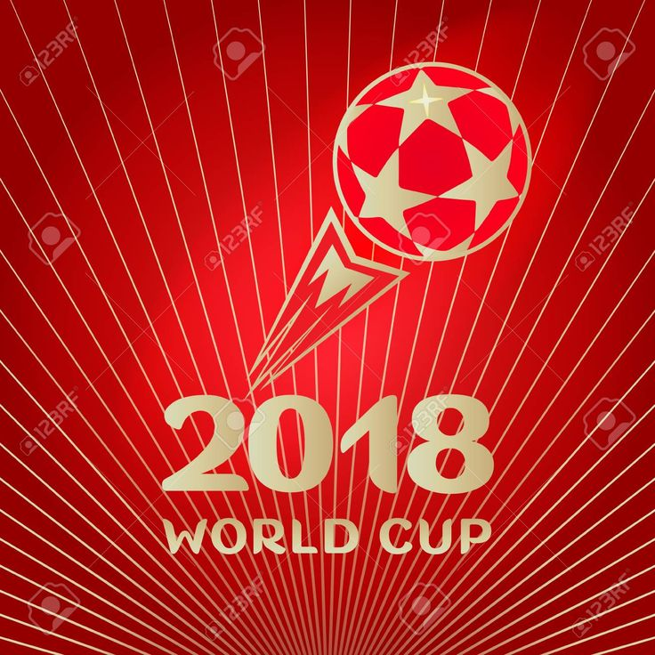 2018 WORLD CUP RUSSIA FOOTBALL. SOCCER. Soccer world championship concept design banner with football symbols, soccer ball and 2018 - gold text, red sports award dynamic background Stock Vector - 94526480