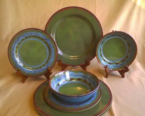 19 Piece Green Blue Tuscan Southwest Stoneware Look