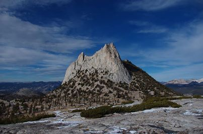 Warm temperatures, fee free entrance, and Cathedral Peak (pictured here) beckoned some visitors to spend the weekend exploring Yosemite's high country. NPS Yosemite National Park.