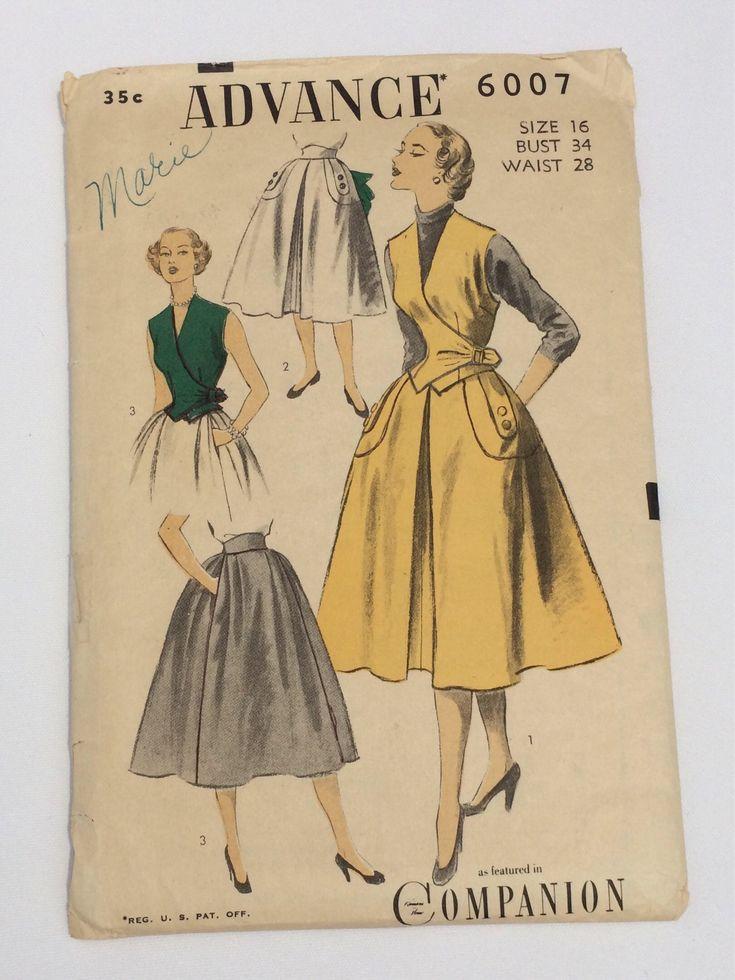 1950's women's wrap top weskit vest, size 16, Advance pattern 2007 by TrulyAdored on Etsy https://www.etsy.com/listing/526694106/1950s-womens-wrap-top-weskit-vest-size