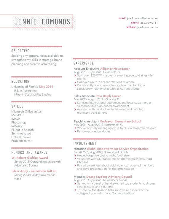 24 best Resume Templates images on Pinterest Design resume - acceptable resume fonts