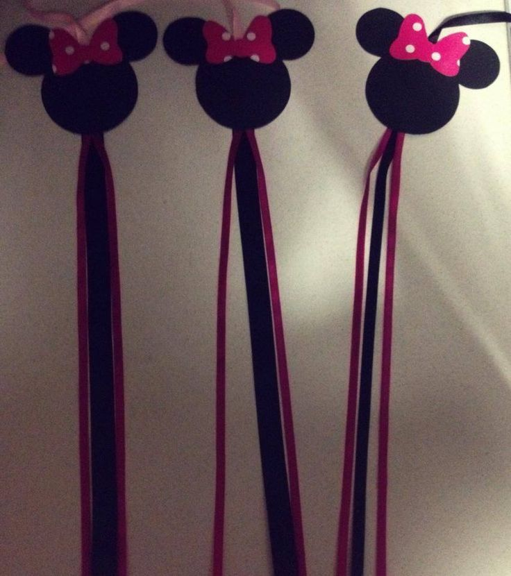 Pink black Minnie decoration figures