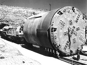 A tunnel boring machine that was used at Yucca Mountain nuclear waste repository