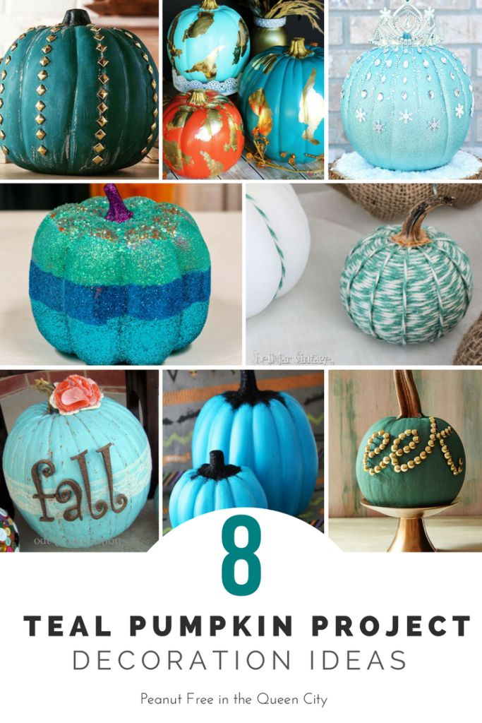 8 Teal Project Pumpkin Decoration Ideas for Halloween from www.peanutfreeinthequeencity.com