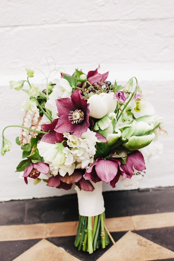 burgundy & white bouquet of hellebores, french tulips & sweet pea