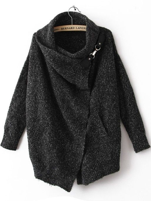 Black Lapel Long Sleeve Ouch Cardigan Sweater - Sheinside.com