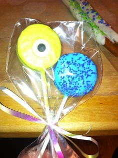 Monsters Inc baby shower favors , Oreo pops