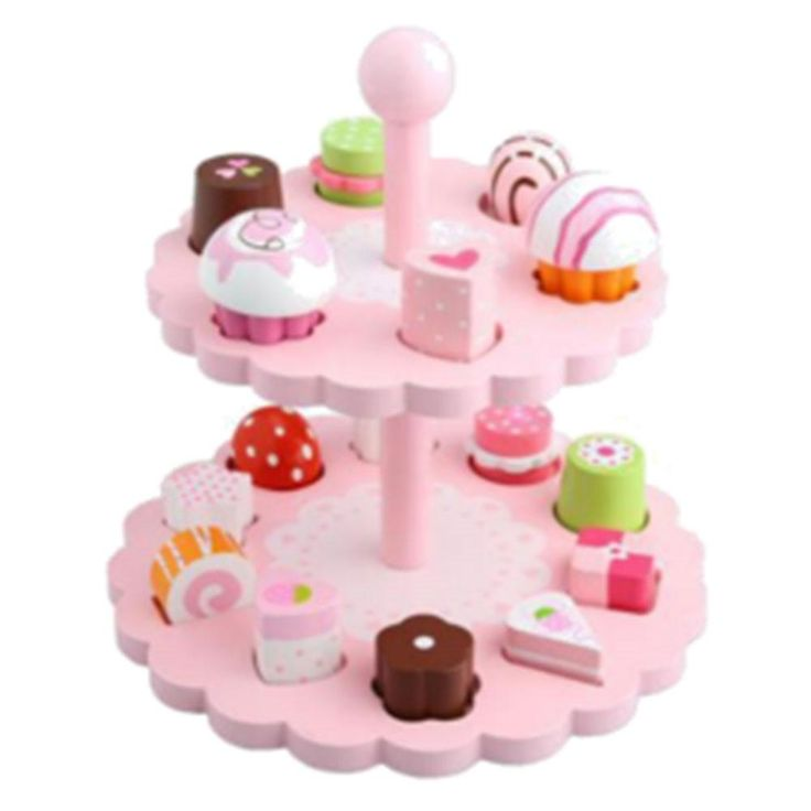 """10.5"""" Pastries and Desserts Pink Tower Play Kitchen Food Set"""