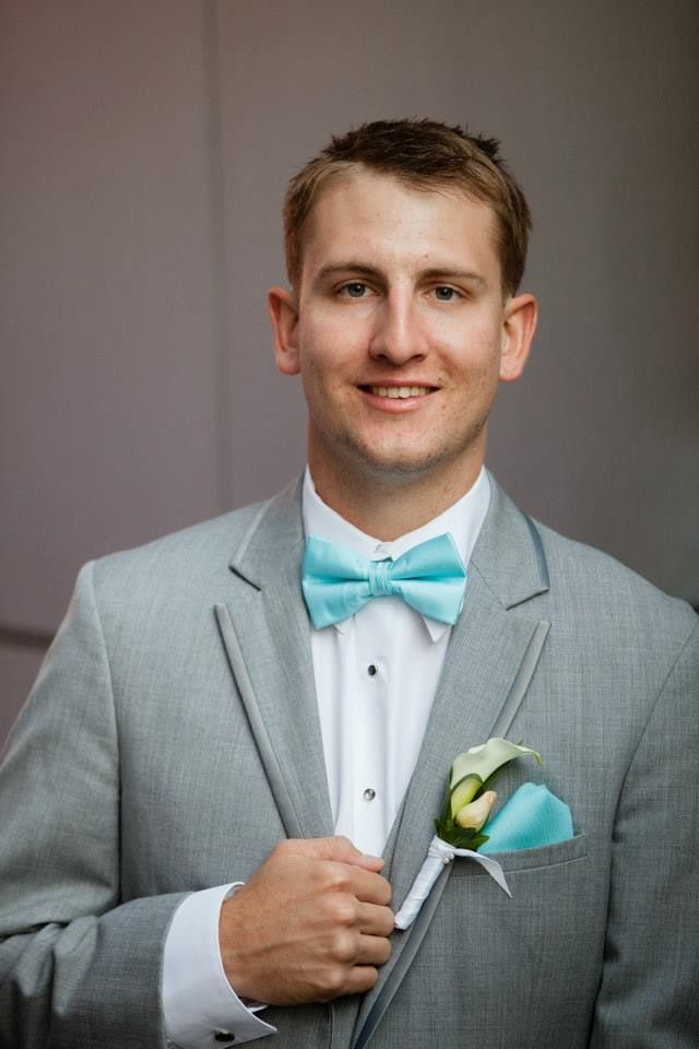 Gray And Blue Bedroom Decorating Ideas: Handsome Husband In Grey Suit And Tiffany Blue Bow Tie