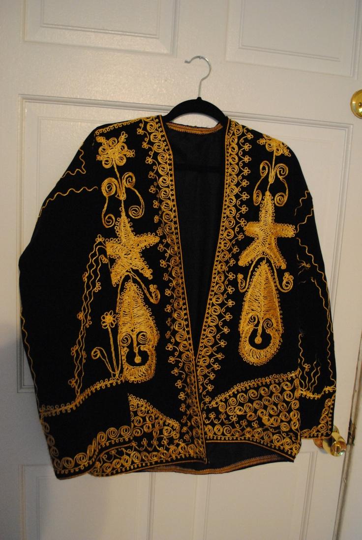 Vintage s moroccan black velvet gold embroidered