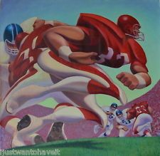 Kansas City Chiefs KC Football Marcus Allen Oil on Canvas by Artist Brad Sneed