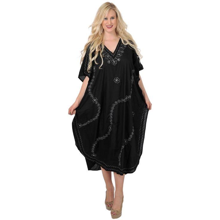 La Leela Silver Beachwear Sleepwear Maxi Gown Kaftan Vintage Dress Cap Sleeve