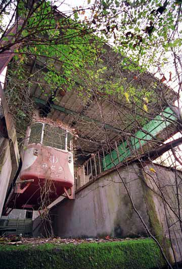 Abandoned Okutama Ropeway in Japan in the Saitama Prefecture. They used these cable cars to get around in the mountain areas.