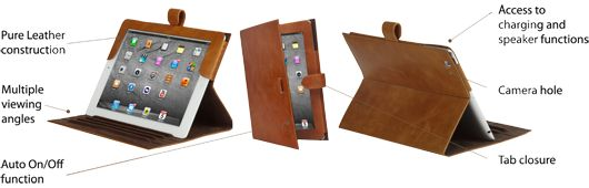 The functionality of our leather classic folio case for iPad & iPad mini. Price: $70-80. More information: www.dbramante1928.com.