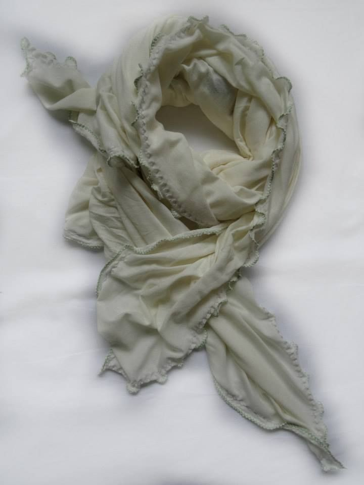 Ivory Love with Lime Stitch Scarf by Stylesetterz Handmade Scarves @ www.facebook.com/stylesetterzhandmadescarves