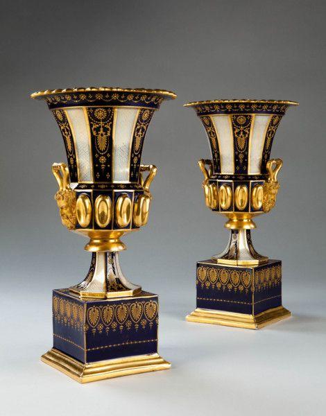 """A Pair Of Medici Form Porcelain Vases Ca1870 France. 14.6""""H."""