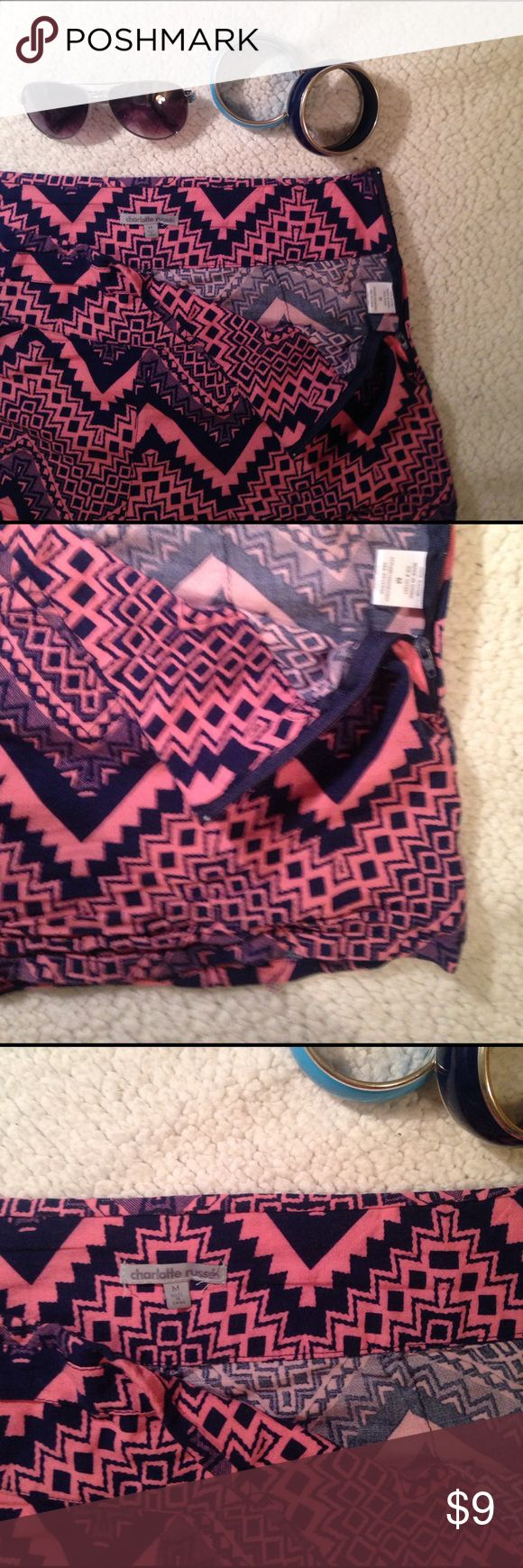 Aztec print shorts Charlotte Russe Slightly worn with a zipper up the right size. Sooo comfortable!! Price marked accordingly. Charlotte Russe Shorts