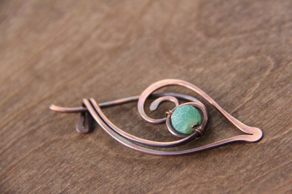 Shawl pin scarf pin brooch Copper and matte by Keepandcherish