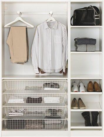 Shoe organisation in shallow pax wardrobe