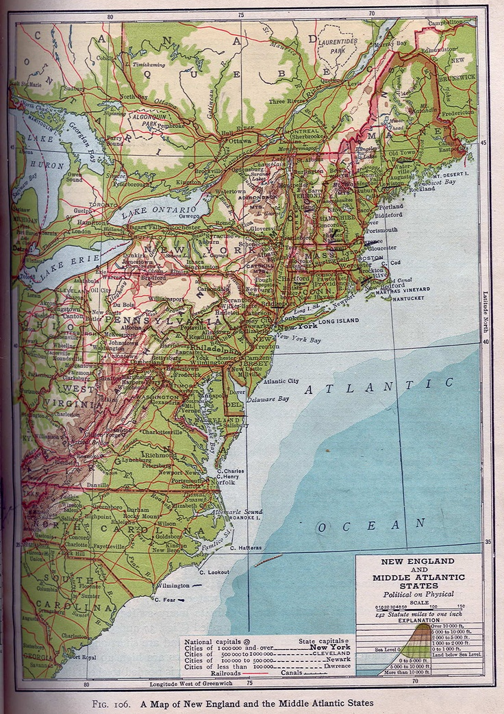 Map of New England and Mid Atlantic