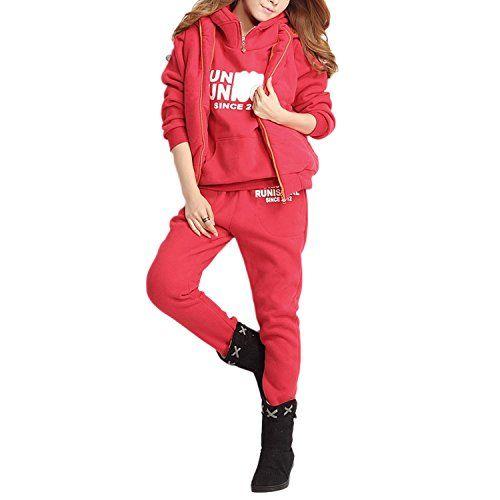 QQI Femmes Survêtement Suit Chaud Manches Longues Pull à Capuche Gilet  Pantalon 3Pcs Lettres Impression Veste b5ed07ed880