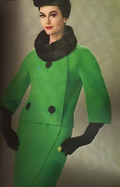 1962 Green Suit with fur collar