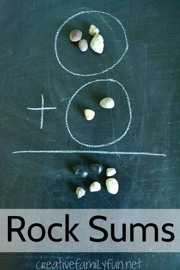 Use rocks as math manipulatives to help with addition in the easy math game for kids.