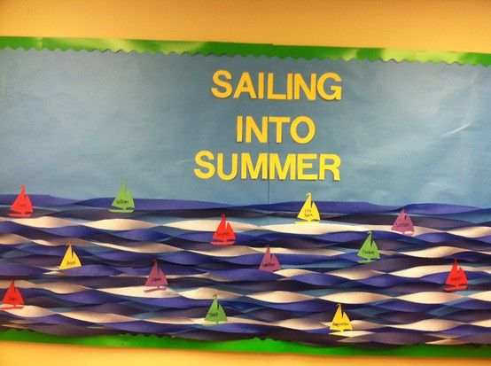 "Love the use of streamers to make the ""waves."" Summer pre-school bulletin board"
