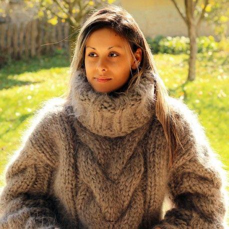 Hand Knit Mohair Sweater BROWN Fuzzy Turtleneck 10 strands by Extravagantza Handgestrickt pullover
