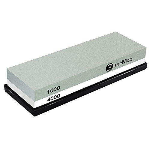 HIGH-QUALITY DOUBLE-SIDED KNIFE SHARPENING STONE: Coarse side 1000 grit leaves metal edge with frosted appearance. Edge sharpness equivalent to majority of factory edges on knives, tools; Fine side 4000 grit is ideal for finishing and polishing the edge, make edge very sharp, and edge reflects light well. Perfect for light touch-ups to an already sharp. HIGH-GRADE WHETSTONE ENSURE EFFECTIVE SHARPENING RESULTS